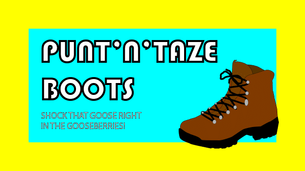 Punt'N'Taze Boots Post Card